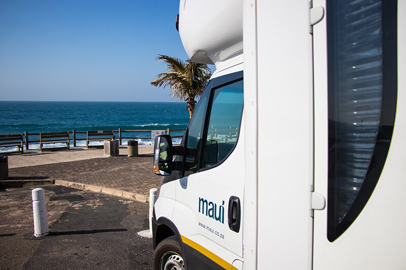 Maui 6 Berth Camper at the beach in Ballito